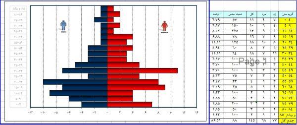دانلود نرم افزار ترسیم نمودار هرم سنی در اکسل