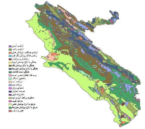 دانلود شیپ فایل GIS کاربری اراضی استان ایلام