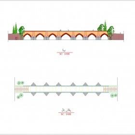 دانلود نقشه اتوکدی پلان و نمای 9 پل تاریخی اردبیل