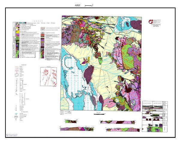 دانلود نقشه زمین شناسی منطقه آریز - یزد