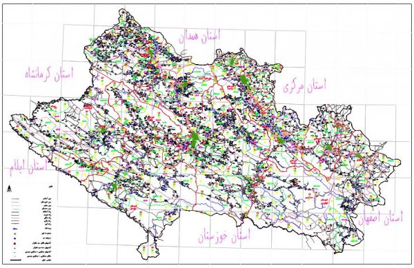 نقشه استان لرستان - کل شهرستانها - فایل اتوکدی و PDF